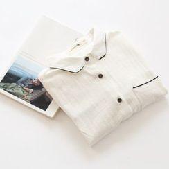 布丁坊 - 配色边衬衫