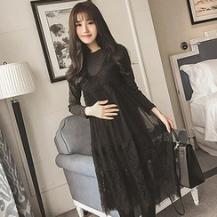 Maiden's Tale - Maternity Knit Panel Mock Two-Piece Lace Dress