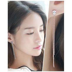Miss21 Korea - Rhinestone Drop Earrings
