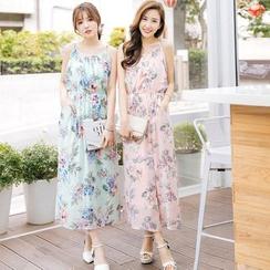 Tokyo Fashion - Floral Print Chiffon Maxi Dress