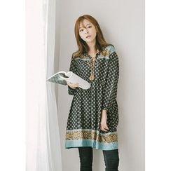 GOROKE - Tasseled Patterned Empire Dress