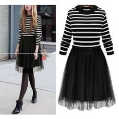 GRACI - 條紋假兩件薄紗連衣裙