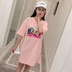 伊之恋 - 印花短袖T恤裙