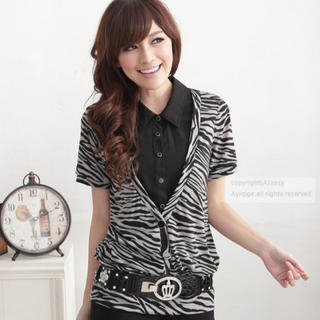 Flower Idea - Inset Shirt Zebra-Print Top