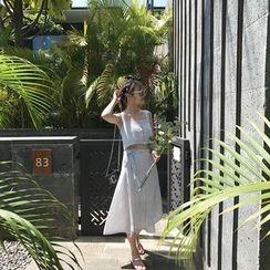 YUKISHU - Set: Striped Cropped Tank Top + Midi Wrap Skirt