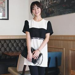 Stylementor - Short-Sleeve Fringed-Accent Color-Block Tunic