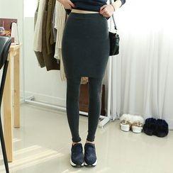 Dodostyle - Inset Midi Skirt Leggings