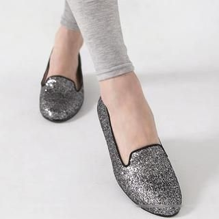 FM Shoes - Genuine Leather Glitter Flats