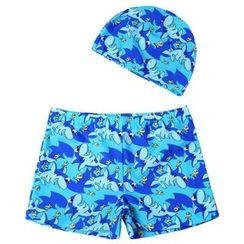 Yodie - Shark Print Swim Shorts with Cap
