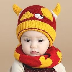 POMME - Baby Set: Cow Horn Beanie + Circle Scarf