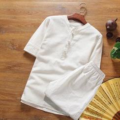 ZZP HOMME - Set: Linen Short-Sleeve Top + Shorts