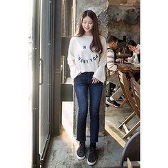 CHERRYKOKO - Lettering Wool Blend T-Shirt