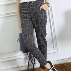 Heybabe - Window Pane Drawstring Pants