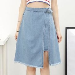 Honey House - A-Line Asymmetrical Hem Denim Skirt