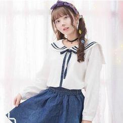 Moriville - Striped Sailor Collar Long Sleeve TOp