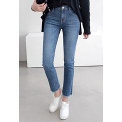 Miamasvin - Fringe-Hem Straight-Cut Jeans