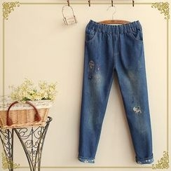 Fairyland - Elastic Waist Washed Embroidered Jeans