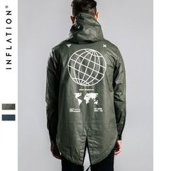 Newin - Earth Print Half-Zip Windbreaker