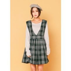 J-ANN - Sleeveless Check Jumper Dress