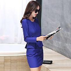 Romantica - Long-Sleeve Belted Peplum Dress