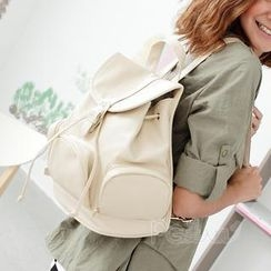PG Beauty - Drawstring Faux-Leather Backpack