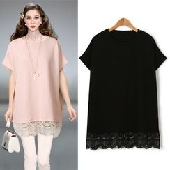 ifzen - Round-Neck Lace-Hem Top