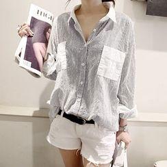NANING9 - Contrast-Trim Pinstriped Shirt