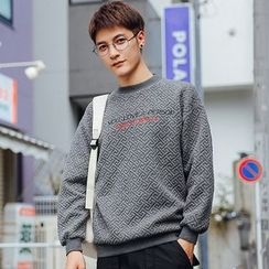 Streetstar - 貼布繡暗紋衛衣