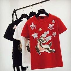 Cotton Candy - Applique Short-Sleeve T-Shirt