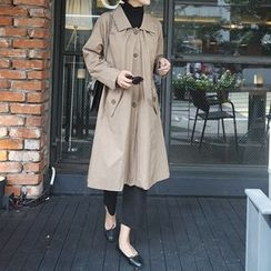 STYLEBYYAM - Single-Breasted A-Line Trench Coat