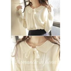 MyFiona - Ribbon-Neck Knit Top