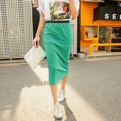 Seoul Fashion - Band-Waist Midi Pencil Skirt