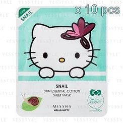 Missha - Hello Kitty Skin Essential Cotton Sheet Mask 10-Piece Set (Snail) (Limited Edition)