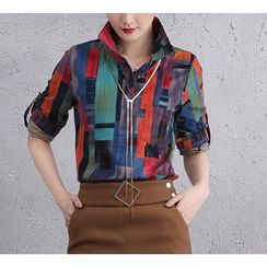 Brightful - Patterned Tab-Sleeve Shirt