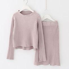 Meimei - 套裝: 純色羅紋毛衣 + 針織裙