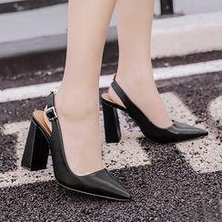Monde - 粗跟尖頭高跟鞋