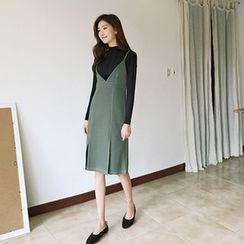 Hello sweety - Set: Mock-Neck Rib-Knit Top + Spaghetti-Strap Slit-Front Dress