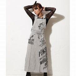 Ghost of Harlem - Print Hooded Suspender Maxi Skirt