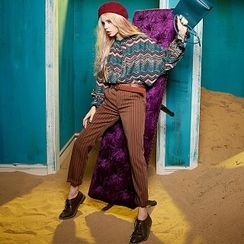 ELF SACK - Striped Straight-Leg Pants