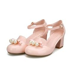 Sidewalk - Faux Pearl Bow Ankle Strap Pumps