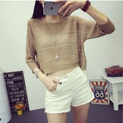 Coolvibe - Cutout Cropped Knit Top