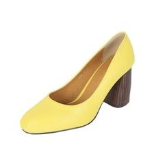 DABAGIRL - Wooden Chunky-Heel Colored Pumps