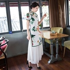 Maura Qipao - Mock Two Piece Short Sleeve Printed Qipao