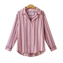 VIZZI - Striped Chiffon Shirt
