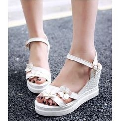 TULASI - Floral Wedge Sandals