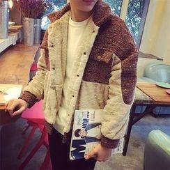 JUN.LEE - Panel Faux Fur Jacket