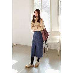 CHERRYKOKO - Dual-Pocket Denim Midi Skirt