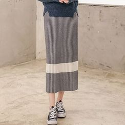 Seoul Fashion - Wool Blend Long Accordion-Pleat Skirt