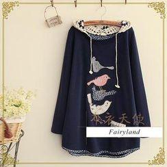 Fairyland - Bird Appliqué Crochet Hood T-Shirt
