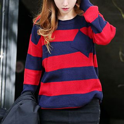 Seoul Fashion - Round-Neck Stripe Sweater